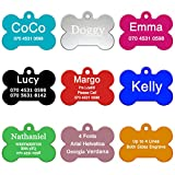 ABIsedrin Pet ID Tag Hunde/Katzen¦Gravierte Hundemarke Haustiere¦Personalized Pet Tag 9 Shapes & 9 Farben zur Auswahl-Knochen