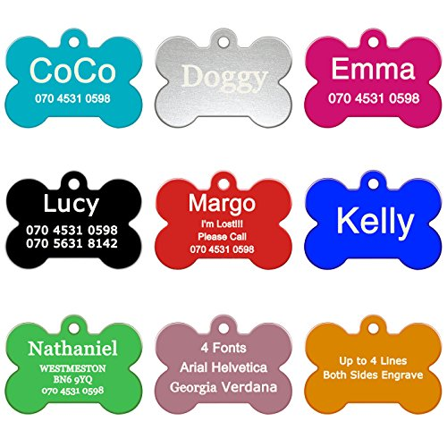 ABIsedrin Pet ID Tag Hunde/Katzen¦Gravierte Hundemarke Haustiere¦Personalized Pet Tag 9 Shapes & 9 Farben zur Auswahl-Knochen -