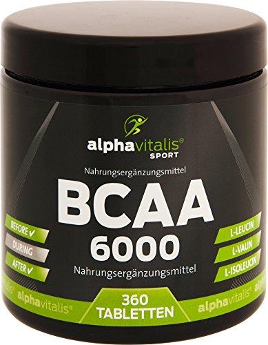 BCAA 6000 - 360 Tabletten á 1000 mg reine BCAAs - vegan - ohne Magnesium Stearat - glutenfrei - laktosefrei - essentielle Aminosäuren für Sportler