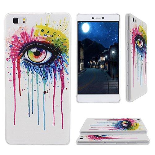 Preisvergleich Produktbild Asnlove TPU Weich Schutzhülle für Huawei P8 Lite Hülle Tasche Case Handyhülle Schutz Etui Handytasche Cover Schutztasche(Kunst Augen)