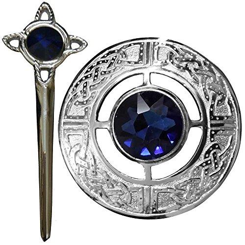 Scottish Kilt Fly Plaid Brosche Keltische Knoten-blauer Stein-Silber-Finish / (Kilt Brosche Scottish)