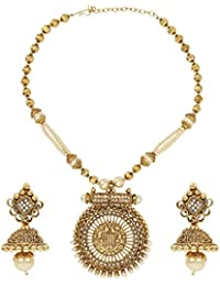 Dancing Girl Bridal Dulhan White Metal Alloy Jewellery Set With Necklace And Earring For Women