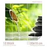 Graz Design 765371_20x15_60 Fliesenaufkleber Steine - Bambus für Kacheln | Bad-Fliesen mit Fliesenbildern überkleben (Fliesenmaß: 20x15cm (BxH)//Bild: 60x60cm (BxH))