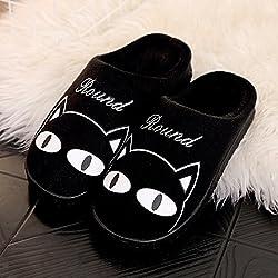 Fankou otoño invierno cartoon cute hombres y mujeres adultos, zapatillas de algodón algodón caliente zapatos antideslizantes caso con piscina home Zapatos ,43-44, gato negro grueso