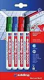 Permanentmarker 'edding 3000', Set aus: Schwarz, rot, blau, grün