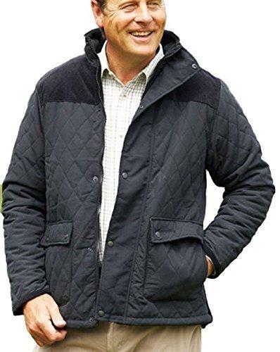 Champion Clothing - Herren Lewis Country Estate Traditionelle Britische Bekleidung Warm Rautenmuster Gesteppte Jacke Mantel Kord Schulterflicken Angeln Wandern - Schwarz, XXL