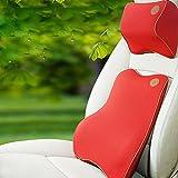 Car Back Support Set, 1 Satz Memory Foam Auto Lordosenstütze Rückenstütze & Nackenkissen Kit mit Atmungsaktive Unteren Rücken Abdeckung für Büro & Auto Stuhl (Grau, Schwarz, Weiß, Blau, Beige, Rot) , Red