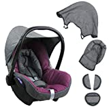 BAMBINIWELT Ersatzbezug für Maxi-Cosi CabrioFix 6-tlg. GRAU/PINK, Bezug für Babyschale, Komplett-Set
