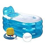 Fuß Pumpe Aufblasbare Badewanne Erwachsene Badewanne Erwachsene Verdickung Folding Badewanne Kunststoff Größe 130 * 82 * 73 cm (Blau)