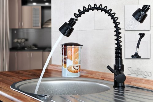 Sanlingo - Gastro-Profi-Küchenarmatur mit Spiralauslauf, Schwarz