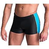 Aquarti Herren Badeshorts Kurz mit Seitlichem Streifen, Farbe: Graphit / Blau, Größe: XL (Taille ca. 100 cm)