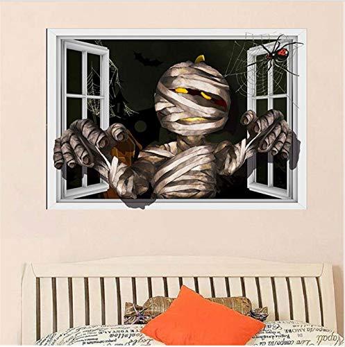 HHZDH Zombie-Muster Halloween 3D Gefälschte Fenster Wandaufkleber Vinyl Kunst Aufkleber Dekor Wohnzimmer Schlafzimmer Dekorative Malerei 70X57 cm
