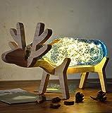 MENA HOME- Kreative Massivholz Handgemachte Glas Nacht Lampe Tischlampe Hirsch Lichter Baum Yinhua Weihnachten Geburtstag Geschenke