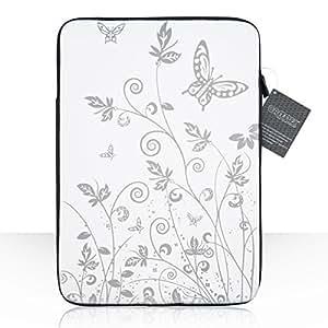 Caseflex Coque Alienware 15 Ordinateur Portable Etui Blanc / Argent Néoprène Floraux Papillon Pochette