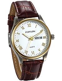 JewelryWe Reloj de Hombre Caballero Reloj de Pulsera Cuero Marrón, Reloj Con Calendario Numeros Romanos