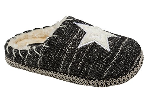 Gibra signora pantofole con suola bianca, foderato, Nero, Gr. 36–41 Nero