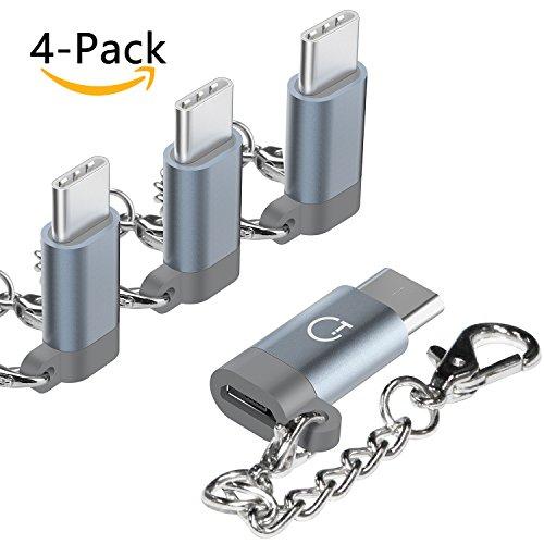 Preisvergleich Produktbild USB C Adapter Typ C Adapter, Gratein 4 Stücke Premium Aluminium Typ c auf micro usb Adapter für MacBook Pro, ChromeBook Pixel, Nexus 5X, Nexus 6P, HTC 10, OnePlus 2 und weiteres Typ C Geräte - Grau