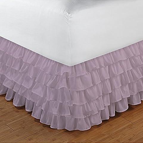 Gamma 100% cotone egiziano Elegante Finitura 1pcs multi Ruffle Giroletto A Goccia (lunghezza: 19cm), Cotone, Pink Solid, Euro_Super_King_Extra_Long