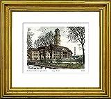 Handkolorierte original Radierung Berlin, Rathaus Spandau von Falk im Rahmen Gold hinter Passepartout, Graphik, kein Kunstdruck, kein Leinwandbild