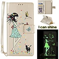 Sony Xperia XA Ultra Flip Cover, Sony Xperia C6 Leather Case, BONROY® Luminous Girl and Cat Embossed Pattern Premium PU Leather Wallet Book Style Protective Case with Card/Cash Slots Wrist Strap For Sony Xperia XA Ultra / C6 Edge - Gold