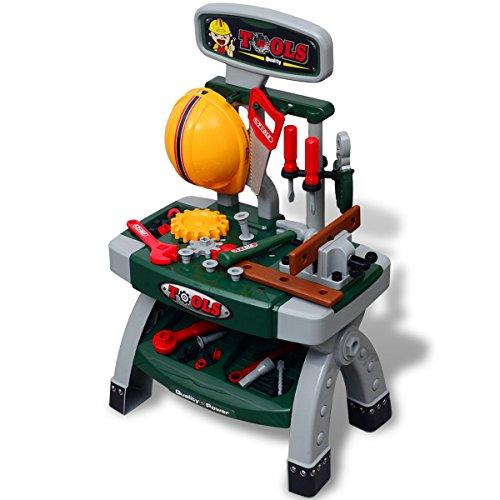 vidaXL Kinderwerkbank Werkzeugbank Werkstatt Spielzeug Zubehör Helm Säge Zange