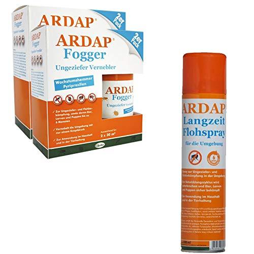 ARDAP Set 1 x 400 ml Flohspray + 4 x 100 ml Fogger gegen Flöhe und Ungeziefer