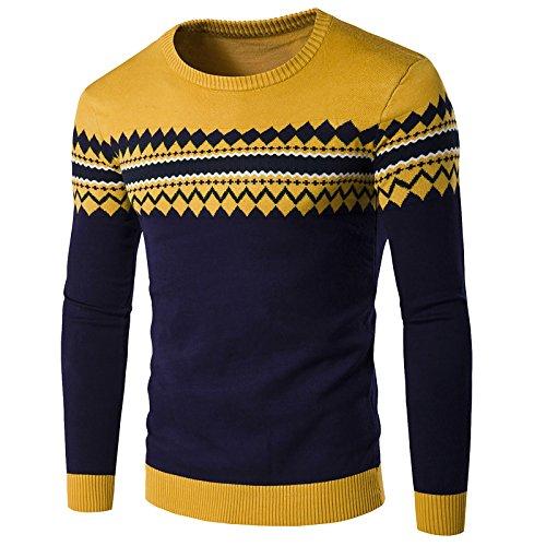 WSLCN Homme Pull Tricoté Manche Longue Motif de Aztèque Sweater WSLCN