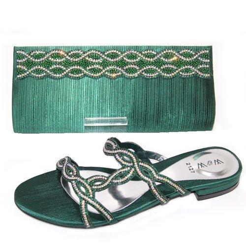 W & W femmes Mesdames cristal Diamante chaussures et sac assorti Taille (Roxi & Maxi) Vert