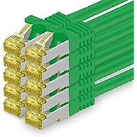 Cat.7 Netzwerkkabel 2m - Grün - 10 Stück - Cat7 Ethernetkabel Netzwerk Lan Kabel Rohkabel 10 Gb/s (Sftp Pimf) Set Patchkabel mit Rj 45 Stecker Cat.6a