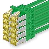 Cat.7 Netzwerkkabel 0,25m - Grün - 10 Stück - Cat7 Ethernetkabel Netzwerk Lan Kabel Rohkabel 10 Gb/s (Sftp Pimf) Set Patchkabel mit Rj 45 Stecker Cat.6a