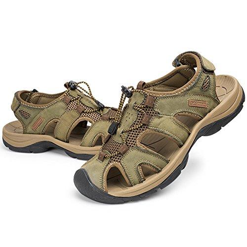 Moollyfox Sandales Homme En PU-Cuir/Chaussures Grandes Tailles Vert Kaki