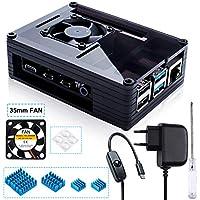 Miuzei Gehäuse für Raspberry Pi 4 mit 35mm Lüfter und 5V 3A USB-C Netzteil, 4 × Aluminium Kühlkörper für Raspberry Pi 4 Modell B (RPi Board Nicht enthalten) -Schwarz