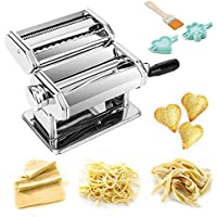 TANBURO Máquina de Pasta, Máquina de Cortador de Pasta de Acero Inoxidable, Máquina de Fideos para Cocina con Molde de Raviolis