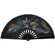 Abanico plegable, bambú, práctica de artes marciales, estilo chino, Dragon And Phoenix black background