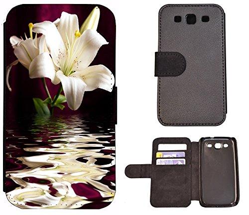 Coque Flip Cover Housse Etui Case Pour, Tissu, 1183 Affe Braun Weiß, Apple iPhone 5 / 5S 1186 Lilie Blume Weiß Grün Lila Wasser