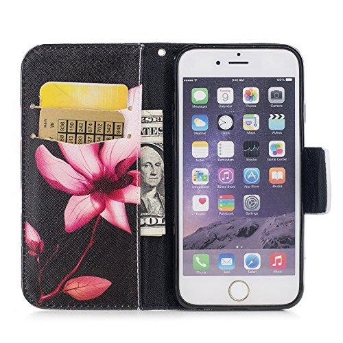 Cover per iPhone 6 Plus,per iPhone 6S Plus Custodia in Pelle, ZCRO PU Cuoio Magnetica Flip Cover in Pelle a Libro Portafoglio Case Caso con Disegni e Porta Carte Protettiva Antiurto Copertura Custodia Fiore