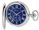 Jean Jacot C345712 - Reloj de Bolsillo (Esfera Azul con segundero pequeño (a Las 6 Horas), Accesorio Atemporal para Hombre con Estilo, diámetro de la Caja: 50 mm, Incluye Cadena y Estuche)