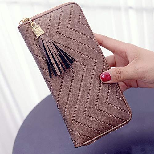 BJFYG Brieftasche Frauen Lange Brieftasche Lady Wallet Clutch Handtasche Scheckheft Geldbörse Quaste Geldbörse Frauen Lange, A, Braun -