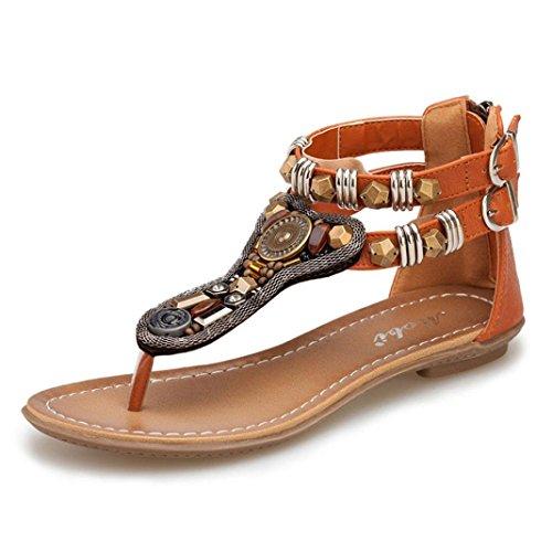 Amlaiworld 2016 Sommer flache Sandalen römische weiblich Reißverschluss niedrigen Absätzen Sandalen Flip Retro Braun