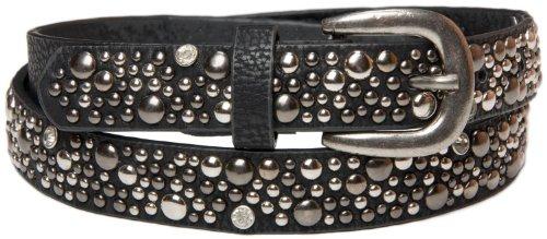 styleBREAKER Nietengürtel im Vintage Style / schmaler Damen Gürtel mit Nieten und Strass 03010021 (90 cm, Schwarz) (Strass Gürtel Western)