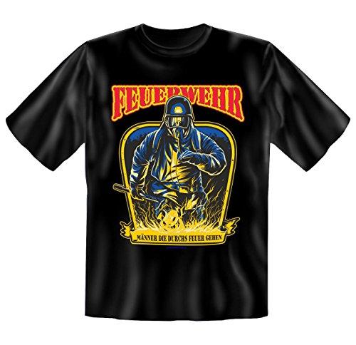 Set mit Beruf T-Shirt für Feuerwehr: Männer die durchs Feuer gehen + Mini T-Shirt Fake Anzug für Bier- und Weinflaschen Schwarz