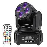Docooler Mini 50W RGBW 4 LEDs Rotazione 9/15 Canale DMX 512 Sound-attivati con Telecomando della Discoteca Partito Randello