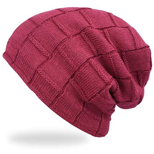 ANVEY Slouch mütze Winter ski Beanie Hut für Damen Herren Rot Beanie Winter Ski Hut