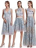 Ever Pretty Damen Elegante One-Shoulder Rüschen Einzigartige Spitze Lang Prom Abendkleider Grau 42
