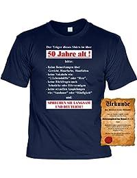 Zum 50. Geburtstag lustiges Sprüche Tshirt - Der Träger dieses Shirts ist über 50 Jahre alt!... Fun Geschenke Set T-Shirt mit Urkunde : )