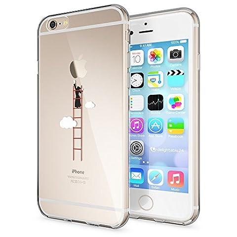 Apple iPhone 6/6S Hülle Handyhülle von NICA, Slim Silikon Case Cover Crystal Schutzhülle Dünn Durchsichtig, Etui Handy-Tasche Backcover Transparent Bumper für i-Phone 6/6S, Designs:Over The Clouds