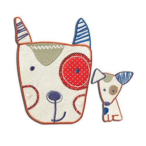 Aufnäher/Bügelbild - Set Hund Kinder - bunt - verschiedene Größen - Patch Aufbügler Applikationen zum aufbügeln Applikation Patches Flicken