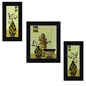 3 Piece Set Of Framed Wall Hanging Art Prints Paintings || 3 Piece set of framed flower || flora || pot wall hanging art prints paintings with UV Digital mate textured with synthetic wood frame.