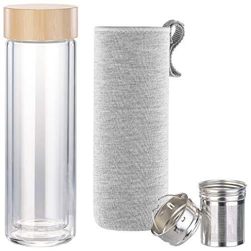 Cucina di Modena Outdoor-Trinkflasche: Doppelwandige Glas-Trinkflasche mit Neopren-Hülle & Tee-Sieb, 400 ml (Wasser-Trinkflasche Glas)