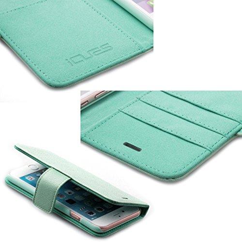 Apple iPhone 6S / 6 (4.7 Zoll) | iCues Maraba Tasche Carbon Blau | Premium Kartenfach Standfunktion Stand Leder - Imitat Book Klapphülle Schutz Etui Handytasche zum aufklappen Flip Case Schutzhülle Bo Hippo Mintgrün